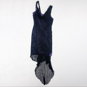 Handmade Purple Satin Dress with Lace Overlay